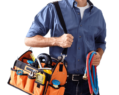 HVAC technician carrying tools