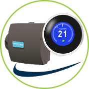 smart thermostat and a humidifier icon